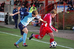 Doughty vs Gloucester (KickOffMedia) Tags: game ball town football goal play kick north ground robins player gloucester tigers match conference fc score spectator reeves skill altrincham nonleague mosslane tekkers bluesquarebet