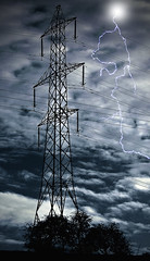 Electric Lightning (pollylew) Tags: storm electric clouds photoshop pylon lightning
