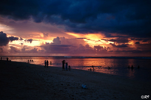 First sunset at the beach Flic en Flac - Mauritius Island