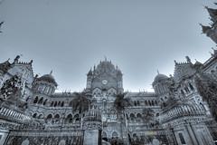 the Gothic CST ([s e l v i n]) Tags: bw india architecture gothic bombay mumbai hdr cst chatrapatishivajiterminus britisharchitecture cststation gothicstructure selvin