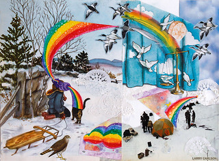 LARRY CARLSON, Winter Magi, collage on paper, 14x12in., 2013