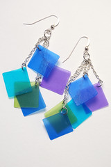 Colorful Earrings made from Pardo Translucent Art Clay (The Blue Bottle Tree) Tags: blue green colorful aqua purple teal polymerclay earrings lime colorblock gingerdavisallman thebluebottletree pardotranslucentartclay
