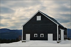 Barnsky (Bridgette Whitney) Tags: saved blue white mountain snow beautiful clouds barn grey big vermont view quaint substantial