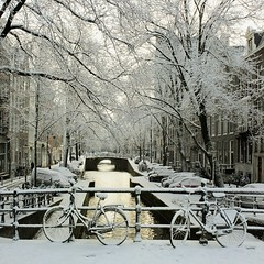 Golden winter glow at the Leliegracht (Bn) Tags: world street trees windows winter light sunset people sun house snow cold holland heritage church water netherlands dutch amsterdam weather bike corner walking frank anne golden boat canal cozy cool topf50 colorful day glow shadows snowy walk seagull sneeuw bikes atmosphere scooter file canals unesco gild covered brug snowfall sled topf100 mokum rembrandt gezellig cafs jordaan sleding bycicles slee bycicle leliegracht nowandthen pakhuis westerkerk wester celcius grachtengordel rondvaartboot 1000km 100faves 50faves 1c lekkersluis
