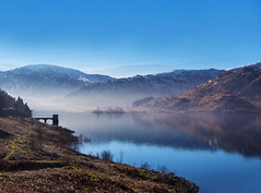 Last of the Mist, Haweswater (Paul Hurst) Tags: trees england sun lake snow tree nature water landscape snowy district hill lakes sunny haweswater cumbira