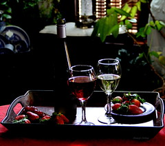 STILL LIFE IN EMOTION (waterbug49307) Tags: glasses bottle wine strawberries tray