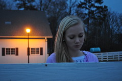 Blue (virginiabardsley) Tags: blue light orange girl barn fence friend sad feelings