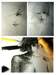 201302241823 (lindenb) Tags: woman art girl illustration pencil comics sketch hand drawing retrato main dessin crayon hatching feutre hachure