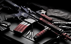 AR-15 American Flag (E Love Photography) Tags: light gun flag flash patriotic american bullets ammo ar15 223 eotech 556