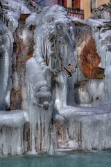 Fontaine Batholdi (urb_mtl) Tags: winter sculpture horse france art ice public water fountain cheval eau place lyon hiver fontaine hdr glace bartholdi terreaux