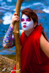 (luckycoinz) Tags: blue red portrait woman halloween girl female fun outdoors weird costume crazy interesting artistic creative bodypaint tattoos redhead odd fantasy geisha cannon imaginative outgoing lwoods luckycoinz mdysart