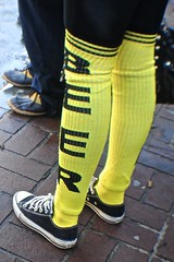 Beer Sox (Wires In The Walls) Tags: black beer yellow funny connecticut drinking ct sneakers parade converse newhaven stpatricksday kneesocks 2013