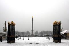Monument dans la Brume (thomas@photo) Tags: snow paris france monument canon eos place concorde neige 550d