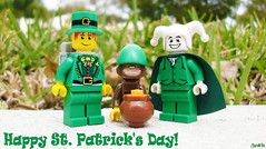 Happy St. Patrick's Day! (chrisofpie) Tags: blue green gold monkey lego chimp doug liam 365 roger stpatrick mime 52 minifigure stpatrickday bluehat minifigures 52weeks 365toyproject legohero legoholiday rogeranddoug 365legos dougthechimp 52weeksofliamthemime liamthemine rogerdoug