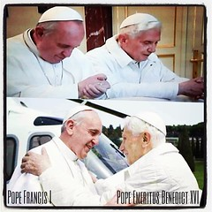 When do you ever see this happen? Never. For the first time in our generation, a current pope (Pope Francis I) visits his predecessor (Pope Emeritus Benedict XVI). It's a beautiful thing. #popefrancisi #popeemeritusbenedictxvi #history #brothers (PapaFrancis) Tags: pictures pope francis religious francisco catholic photos images papa papafrancis