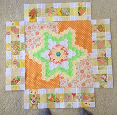 Tangerine Dream (Dee'sDoodles) Tags: orange white green yellow sewing moda blocks quilts scraps