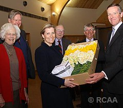 The Countess of Wessex is presented with Cornish daffodils (The British Monarchy) Tags: cornwall sophie daffodils agm cornish showground whitecross wadebridge agriculturalassociation countessofwessex