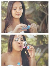 blowing bubbles (michelleciao) Tags: trees sunlight white cute nature girl field grass portraits canon hair asian outdoors rebel 50mm long dress photoshoot bokeh bubbles blow teen teenager filipino pinay debut eighteen debutante 500d t1i