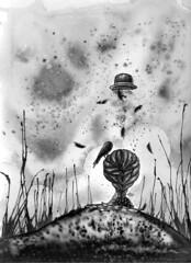 Sol negro (Anita Mejia) Tags: white black bird girl illustration pen ink drawing creepy doodle chocolatita anitamejia