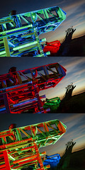 RGB Ladder Triptych (Notley) Tags: missouri notley notleyhawkins 10thavenue httpwwwnotleyhawkinscom missouriphotography notleyhawkinsphotography ruralphotography light lightpainting night nocturne midwest ruralusa evening red redlight 2016 sky clouds sunset truck abandoned firetruck coopercountymissouri overtonmissouri july bluelight redgel bluegel blue green greenlight greengel rgb rgblight bluehour ladder fireengine triptych trio triad