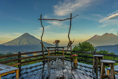 VOLCANO DECK (In Explore Jul 27, 2016) (robbiedest) Tags: deck flowers landscape antigua guatemala central america mountains sunrise valley travel scenery scenic view countriside adventure highlands