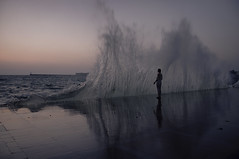 Rising (Alexander Oleynik) Tags: sea wave water evening reflection woman wind sevastopol sky