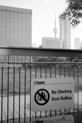 Municipal Code #608 (Richard Wintle) Tags: foma fomapan 200 adonal adox blackandwhite bw monochrome film 135 35mm 38mm f35 canon sureshot sureshotmax toronto ontario canada downtown cntower