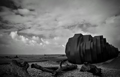 The Cafe... (hall1705) Tags: thecafe rustyslug blackwhite mono stormy clouds driftwood seaside shore littlehampton westsussex d3200