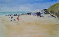 Ballymoney studio (katekos) Tags: watercolor watercolour water wexford ballymoney beach sand seascape sea summer people courtown tanning sky sketch painting art akwarela krajobraz morski katekos