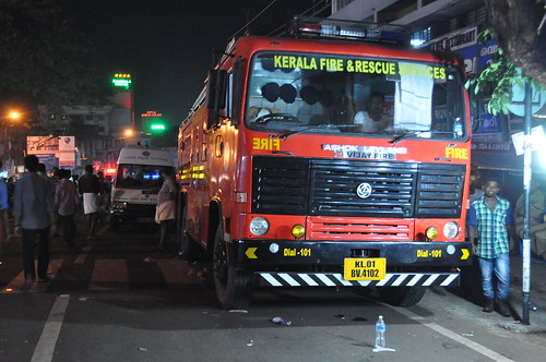 A fire truck is kept on standby