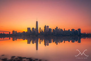 Manhattan Hazy Sunrise Reflections