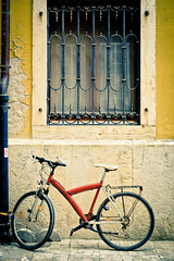 Orange and yellow (The Green Album) Tags: wall gutter pipe bicycle pedals lock padlocked yellow orange frame metal shutters rovinj croatia istria