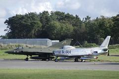 Saab RF-35 Draken and North American F-86F Sabre (Svein K. Bertheussen) Tags: fly aircraft airplane jetjager jetfighter stavangerairport sola veteranaircraft veteranfly rf35 saab draken photoreconnaissanceaircraft northamerican f86f sabre