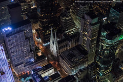 Aerial St Patrick's Cathedral (DSC09706) (Michael.Lee.Pics.NYC) Tags: newyork aerial helicopter night stpatrickscathedral rockefellercenter fifthavenue saksfifthavenue rooftops cityscape architecture lookingdown sony a7rm2 fe2470mmgm flynyon