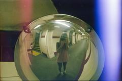 (333Bracket) Tags: nikonem50mmf18 london 333bracket 35mm film analogue girl tunnel mirror self underground reflection protection camera lightleak