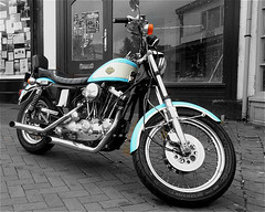 Harley-Davidson Sportster (Marty's White Suit) Tags: americanclassics bikes blackandwhite motorcycles motorbikes selectivecolour transport vehicles
