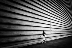 Long Wall (marco ferrarin) Tags: architecture city street wall blackandwhite monochrome building structure minimalism minimal streetphotography tokyo japan nationalartcenter roppongi    travel urban leadinglines museum summer long mono bw