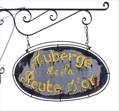 Auberge (haberlea) Tags: france candessaintmartin sign auberge metal white lettering onwhite