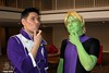 Brainiac and Polar Boy (Adam Antium) Tags: dragon con 2016 legion superheroes photo shoot convention brainiac 5 five adam antium super hero costume cosplay spandex lycra tight tights green purple polar boy