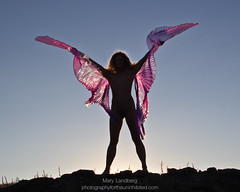 Gossamer Wings (landbergmary) Tags: marylandberg conceptualphotography conceptualportrait portrait brave courageous puttingitoutthere uninhibited fearless silhouette sunset wings