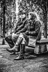 What's next? (tootdood) Tags: canon70d blackandwhite streetcandid monochrome candid people sitting sit sat seated piccadilly couple whats next seat bench
