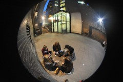 Game (opopododo) Tags: girls game london night lights pavement group steps fisheye lensflare gals ramilliesstreet