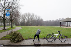 (Peter de Krom) Tags: christmas boy tree bicycle bergenopzoom