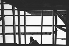 (kravse) Tags: wood roof sky people ontario canada construction candid documentary ceiling labour slats worker lumber iphone