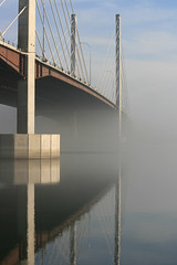 Pitt Bridge (~ Blu ~) Tags: bridge mist reflection fog blu gvrd pittriver cablestayed