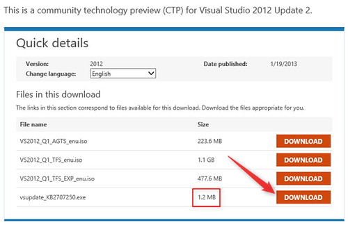 Installing Visual Studio 2012 Update 2 CTP 2