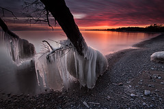 Ice and Fire (timcorbin) Tags: longexposure sunset ontario ice canon whitby leefilters