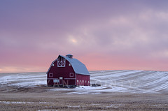 Palouse Country Barn (Ryan McGinty) Tags: winter sunset usa snow landscape washington wheat pastels redbarn stubble uniontown palouse palousecountry wondersofnature ryanmcginty