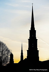 church steeples at sunset (rsteup) Tags: sunset silhouette indiana fortwayne fortwaynein churchsteeple canoneos60d