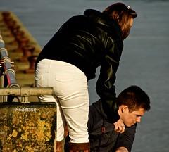 MindThatPipe! (Hodd1350) Tags: christchurch people woman man back couple quay dorset mudeford bollards
